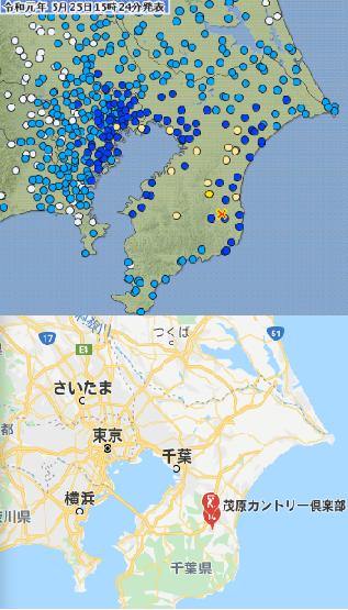 震央のすぐ近くに位置する茂原カントリー倶楽部(気象庁、GoogleMap)